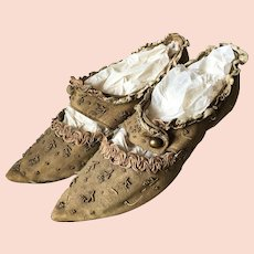 Early 19th.Century French Marie-Antoinette Styled Shoes Pompadour Beaded