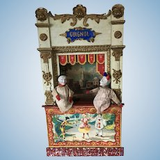 19th. Century French Guignol 2 Puppets Theater Commedia D'ell Arte