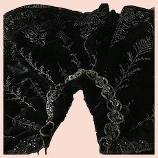 Antique Black Velvet Beaded Opera Victoria Cape Theater