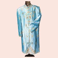 Stunning French Stage Poiret Style Maharadja Blue Coat Embroidery