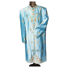 Stunning French Stage Poiret Style Maharadja Blue Coat Embroidery