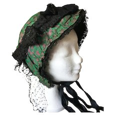 Antique Late 19th C. French Bonnet Hat Costume Lace Embroidery Victorian