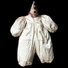 1920's Rare Silk Clown Costume Pierrot Harlequin Child Costume Circus Fairground
