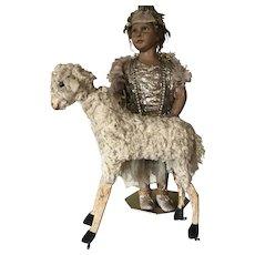 1880 Antique Toy Sheep Pull Toy Putz Erzgebirche with noise maker mechanism