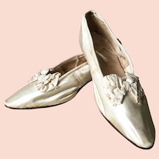1920's Silk Wedding Ball Shoes Flapper Charleston