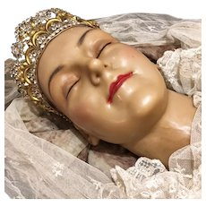 19th. Century French Holy Martyrs Wax Head Virgen Santos Relik Religious