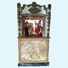 19th Century Guignol Puppet Theater with 7 Original Puppets