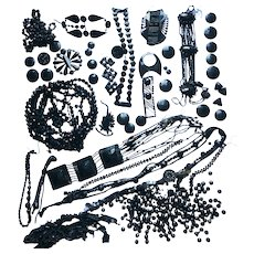 Big Lot with Antique Jet Beads Trim Costume Dress Roaring Twenties Crafting