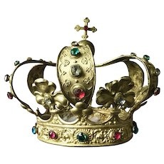 Large Life-Size Antique French Religious Gilded Santos Crown