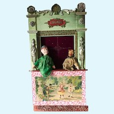 19th Century Guignol Puppet Theater with 2 Original Puppets