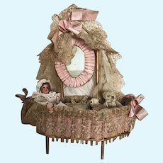 19th Century French Lace Doll Furniture Dressing Table Coiffeuse Poupee