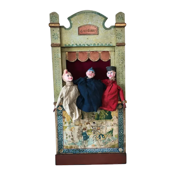 19th Century Guignol Puppet Theater with 3 Original Puppets