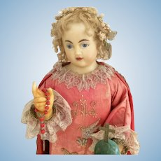 Beautiful 1850 Wax poured Child Religious Doll Mannequin Statue