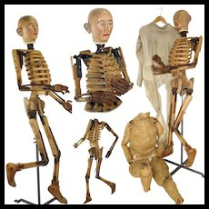 1860's Very Rare Articulated Model Mannequin Artist Lay Figure Skeleton