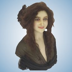 French 1900 wax life size wax bust mannequin doll museum piece