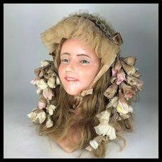 1900 French Wax Head Mannequin Boudoir Doll Bust bonnet hat rare girl