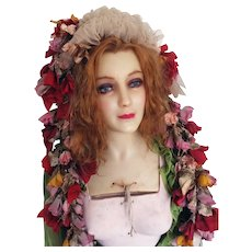 1920 Life Size French Wax Mannequin Original Body Bust Human Hair Signed