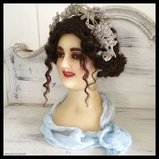 1900 Wax Mannequin Bust Head Victorian Perfect Condition
