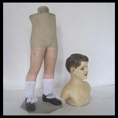 1900 French wax child mannequin display doll costume dress form