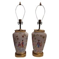 Pair of French porcelain lamps in the Japanese style