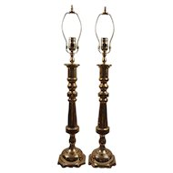Brass Candlestick Lamps, Pair