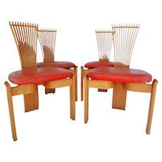 Set of four Torstein Nilsen totem chairs