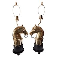 Pair of solid brass horse heads  mounted as lamps