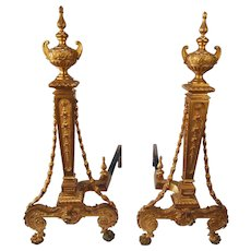 Pair of 19th Century French gilt bronze andirons