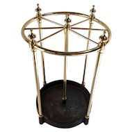 Round English brass umbrella stand