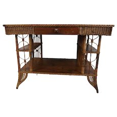 Rare 19th C Heywood Wakefield Wicker Desk