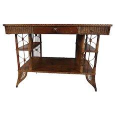 Rare 19th C Heywood Wakefield Wicker Desk