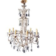 Large Vintage Italian Gilt Metal and Crystal Chandelier