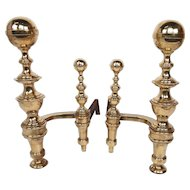 Pr of Boston Classical Belted Top Brass Andirons