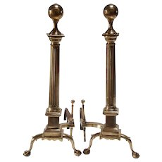 1920's American Brass Ball Top Andirons