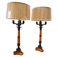 French Empire Sienna Marble & Bronze Candelabras Lamps-Pair