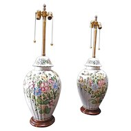 Marbro Floral Decorated Lamps- Pair