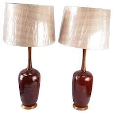 Glazed Pottery Lamps, signed F Craven-A Pair - Red Tag Sale Item