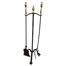 Iron and Brass Fireplace Tool Set
