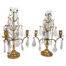French Rock Crystal Gilt Bronze Three Light Candelabra- A Pair