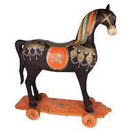 Painted Wood Temple Horse