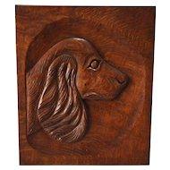 1930's Hand Carved Oak Dog Plaque
