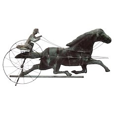 Sulky, Horse and Jockey Copper Weathervane