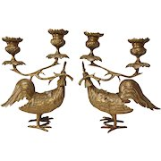 Pair of Brass Rooster Candelabra