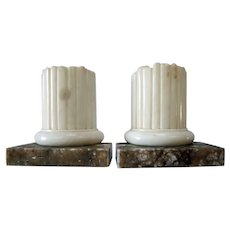 Pair of Vintage Italian Alabaster Column Bookends