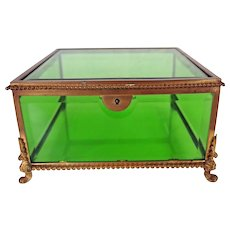 Vintage Beveled Green Glass Jewelry Box
