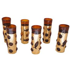 Set of Six Filipe Derflingher Imprisoned Glass Barware