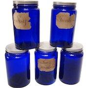 Set of Five Vintage French Kitchen Storage Jar