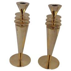 Brass Art Deco Candlesticks- a Pair