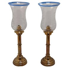 19th C Russian Candlesticks with etched Glass Hurricanes- A Pair