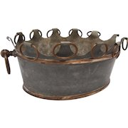 19th C Oval English Tole Planter with brass rings